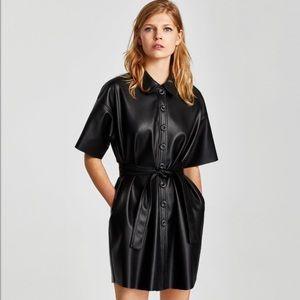 •ZARA•Faux Leather Shirt Dress